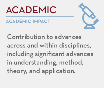 Academic - academic impact: Contribution to advances across and within disciplines, including significant advances in understanding, method, theory, and application.