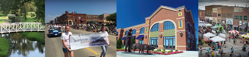 Four pictures of Austin and activities (left to right): bridges over a creek; parade marchers walking down a street with a sign; a building exterior with a statue of a farmer and hogs; a street fair with tents and people