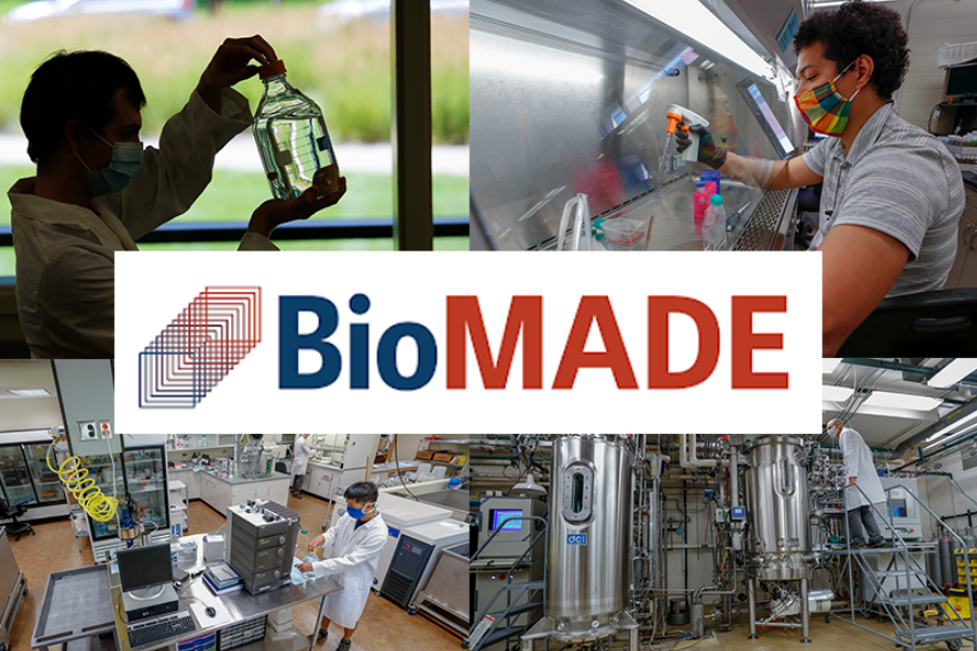 A collage of industrious research settings and researchers at work, as well as a BioMADE logo