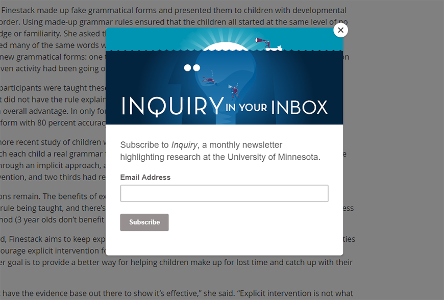 Pop-up inviting readers to subscribe