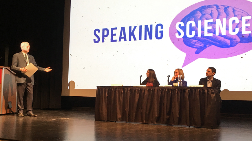 Presenters on-stage at the Speaking Science conference