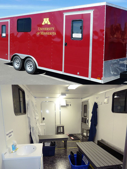 """Exterior and interior of trailer teaching the """"Danish entry system"""""""