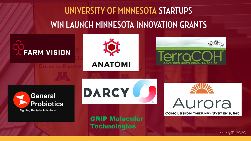 Logos representing UMN Startup winners of Launch Minnesota Innovation Grants: Farm Vision Technologies; Anatomi; TerraCOH; General Probiotics; Darcy Solutions; Aurora Concussion Therapy; GRIP Molecular Technologies