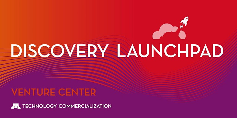 Red and purple logo with rocket ship icon: Discovery Launchpad, Venture Center, Technology Commercialization