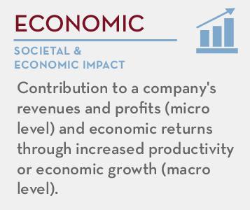 Economic  - societal and economic impact: Contribution to a company's revenues and profits (micro level) and economic returns through increased productivity or economic growth (macro level).