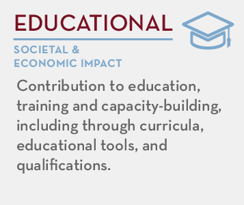 Educational - societal and economic impact: Contribution to education, training and capacity-building, including through curricula, educational tools, and qualifications.