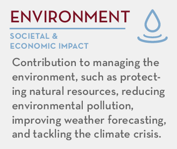 Environment - societal and economic impact: Contribution to managing the environment, such as protecting natural resources, reducing environmental pollution, improving weather forecasting, and tackling the climate crisis.