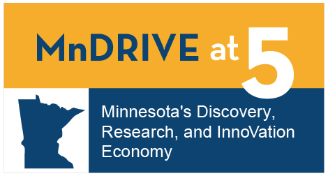 blue and yellow graphic with an outline of the state of Minnesota: MnDRIVE; Minnesota's Discovery, Research and InnoVation Economy