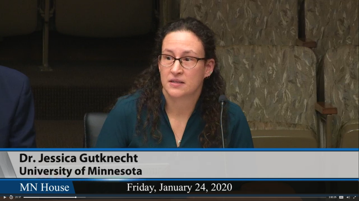Screenshot of Dr. Jessica Gutknecht presenting to the MN House