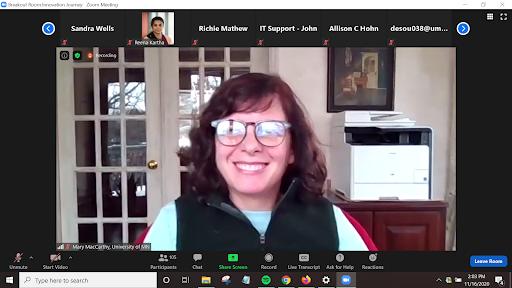 Mary MacCarthy presenting via a Zoom screen