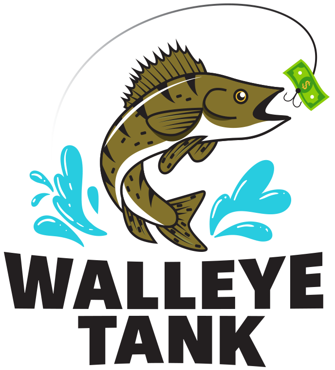 Walleye Tank: illustration of a walleye breaking through the surface of water to bite a dollar bill hooked onto a fishline