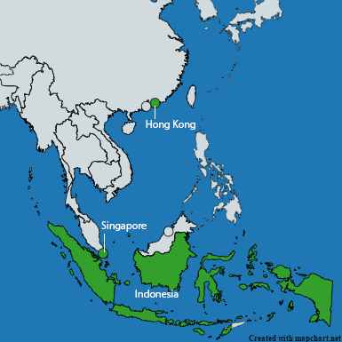 Countries highlighted in Southeast Asia