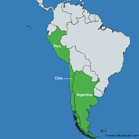 Countries highlighted in South America