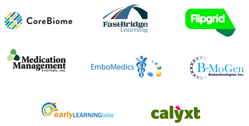 Company Logos for: Core Biome; Fast Bridge Learning; Flipgrid; Medication Management Systems, inc.; EmboMedics; B-MoGen Biotechnologies Inc.; Early Learning Labs; Calyxt.