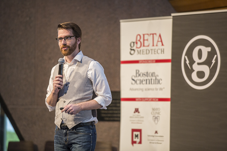 Brian Krohn pitches snoring reduction app to investors and entrepreneurs at LiveBETA Medtech event