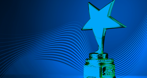 Small generic trophy with a star, blue tint overlaying the image