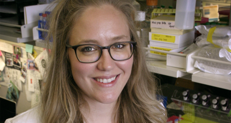 Emily J. Pomeroy portrait in a laboratory setting.
