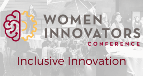 Grey/white collage of conference images, overlay is a maroon/gold icon of a brain and sprocket (conference logo), words read Women's Innovators Conference: Inclusive Innovation