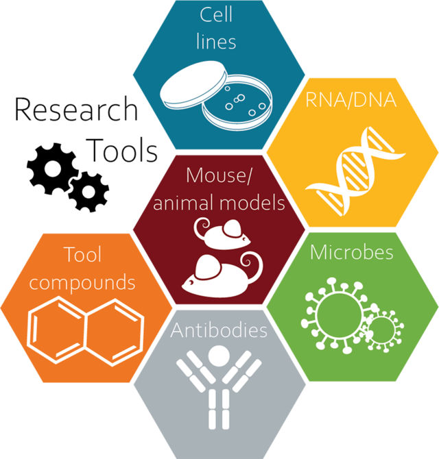 Diagram that shows cell lines, RNA/DNA, animal models, microbes, tool compounds, and antibodies.