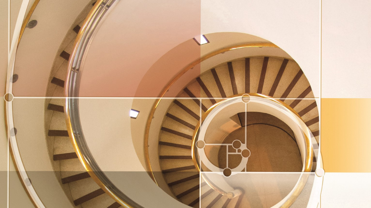 Spiral staircase with golden ratio design