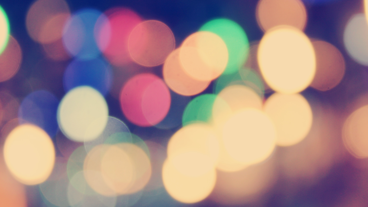 Abstract, out-of-focus image of colored lights