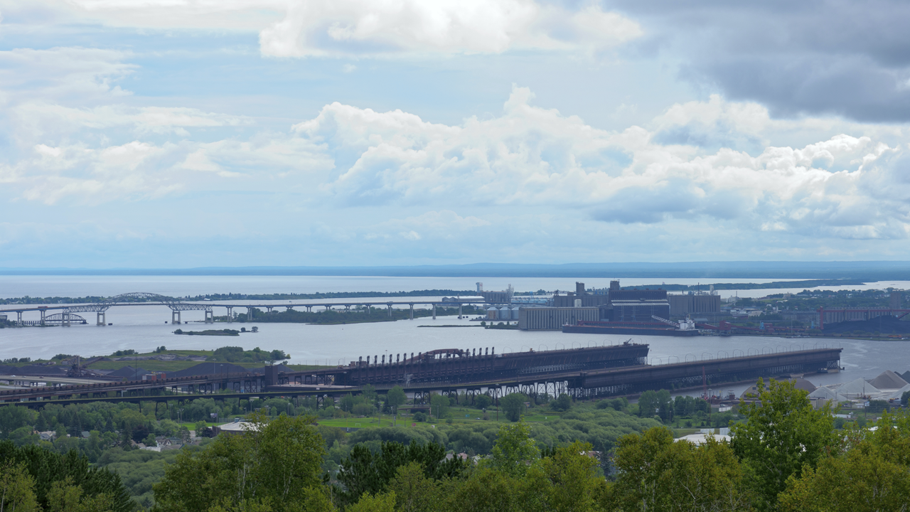 view of ore docks in Duluth
