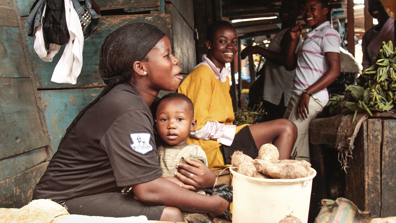 Woman and child in a Ghana market