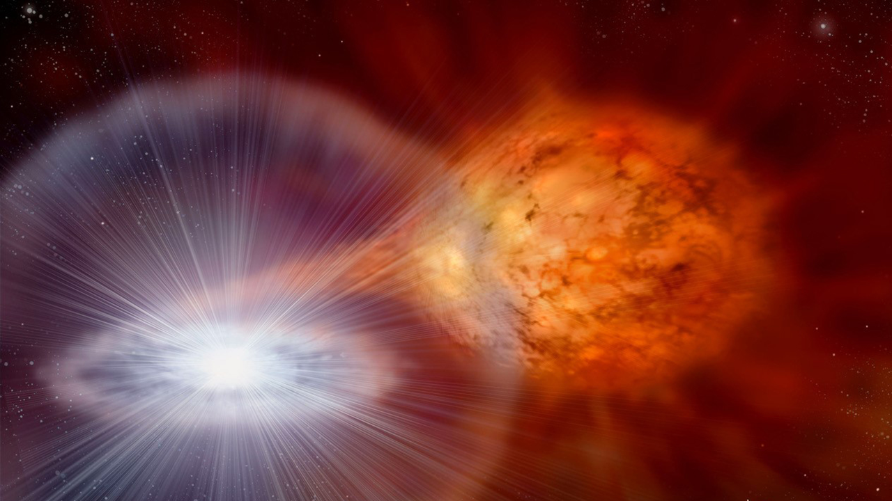 Illustration of a nova explosion in space.