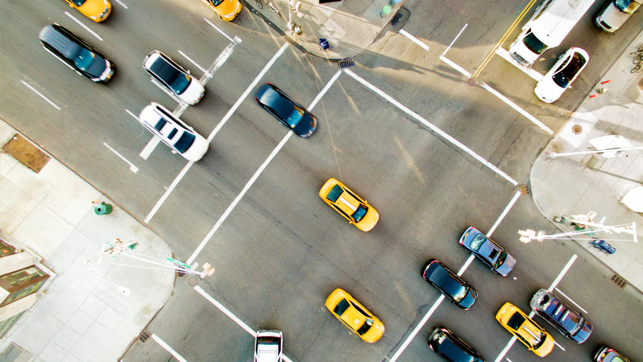 An overhead view of a busy intersection in a city