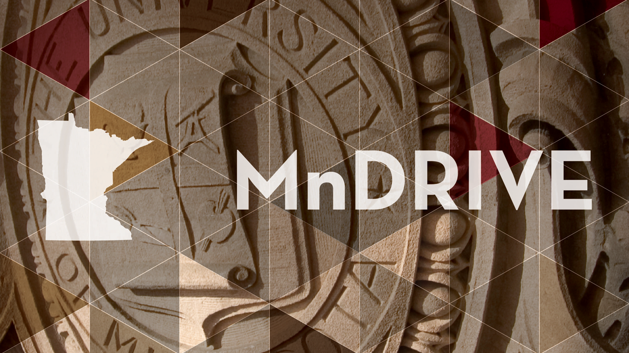 MnDRIVE logo over regents seal photo