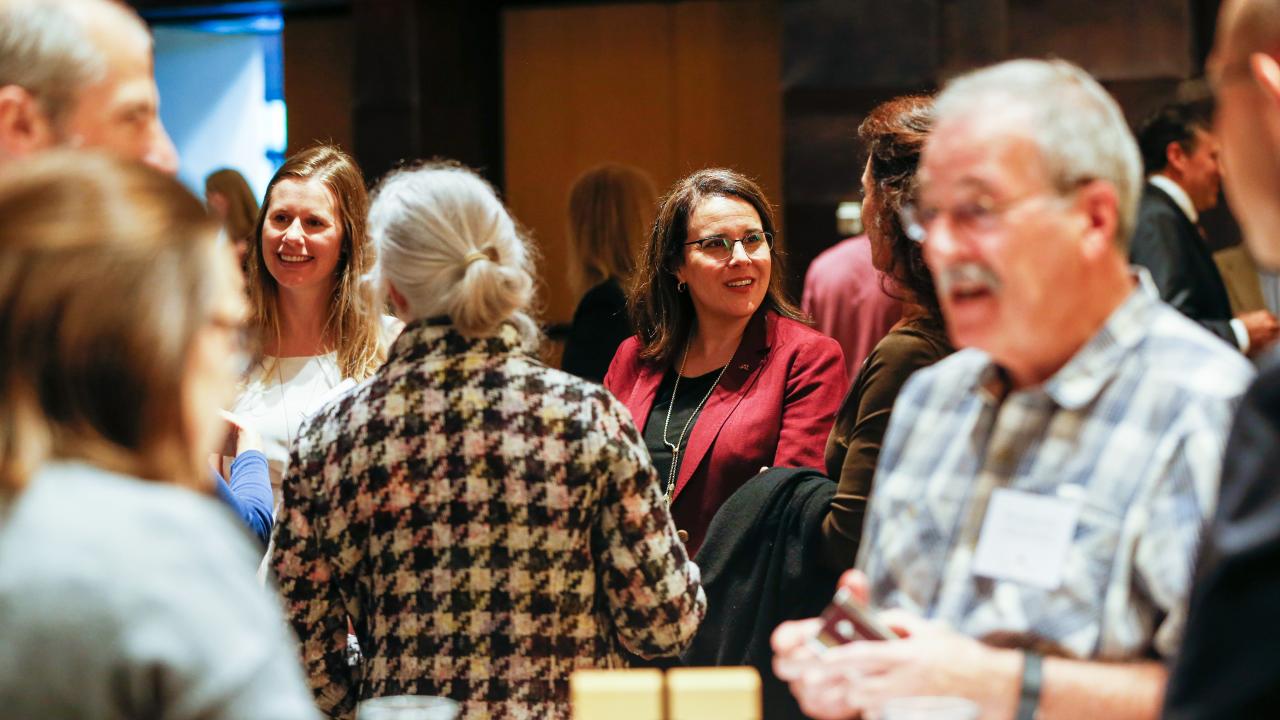 President Joan Gabel during an Inauguration Week event at McNamara Alumni Center.