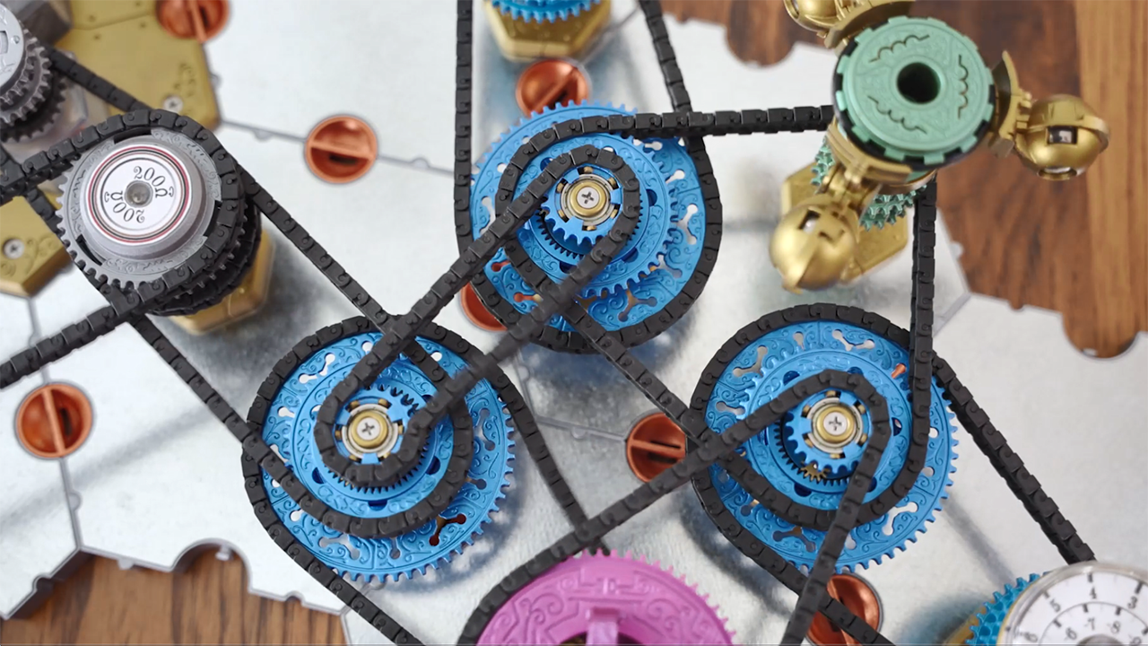 Top-down view of Spintronics game pieces connected together