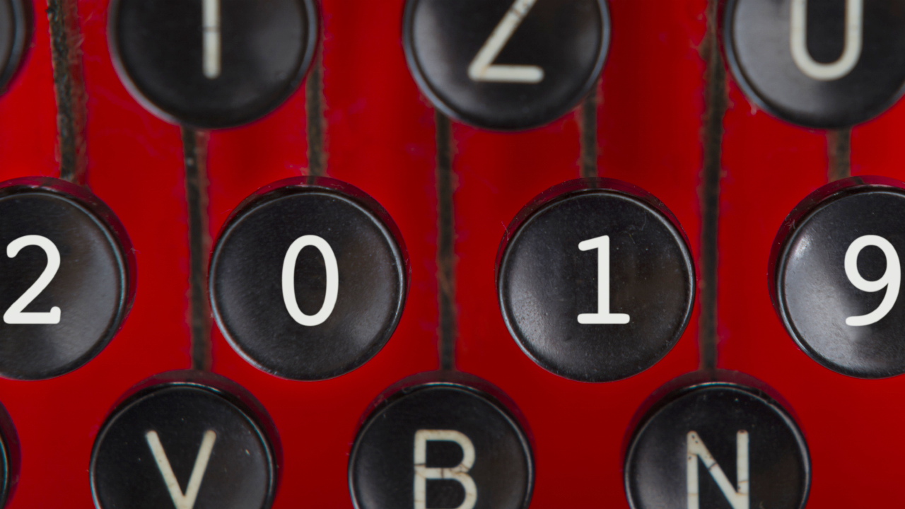 """2019"" written on keys of a typewriter"