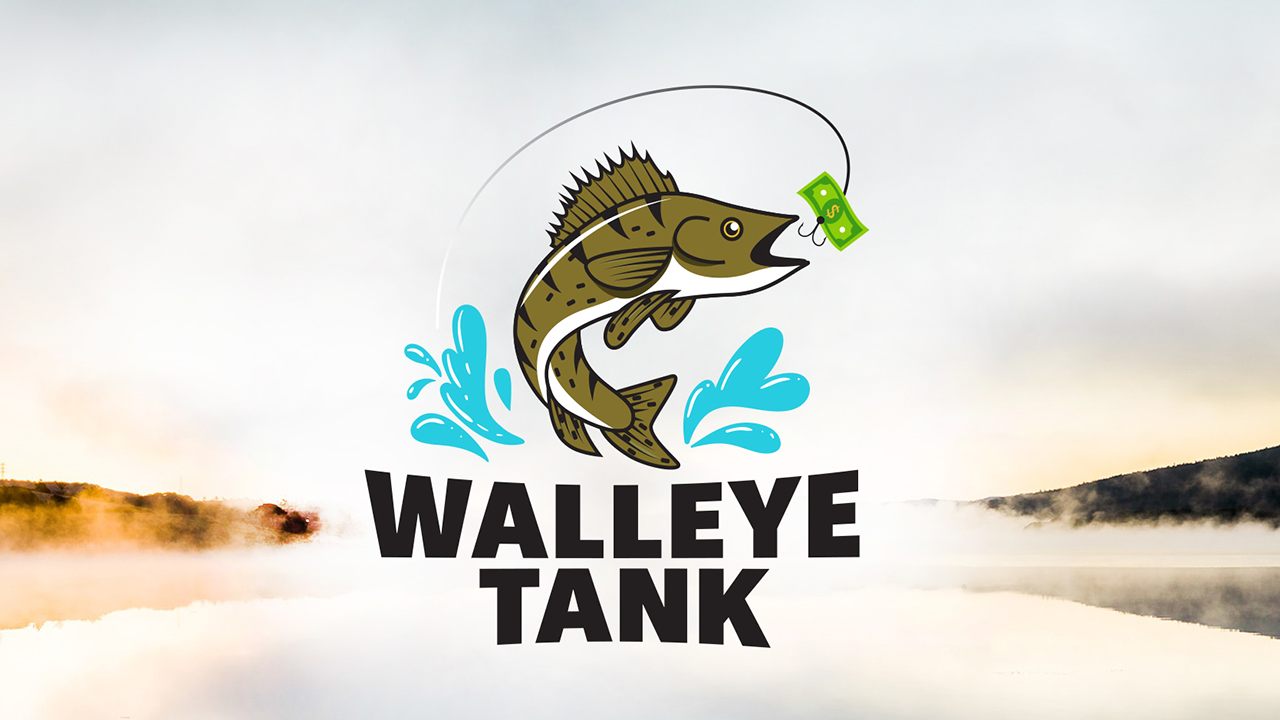Walleye Tank logo over landscape background of a lake