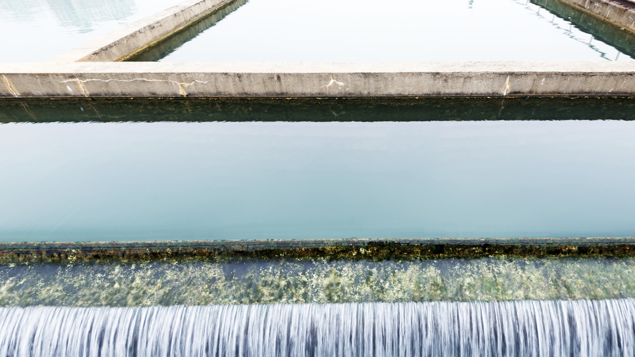Wastewater in a treatment facility