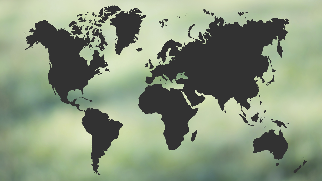 Illustrated world map over green background