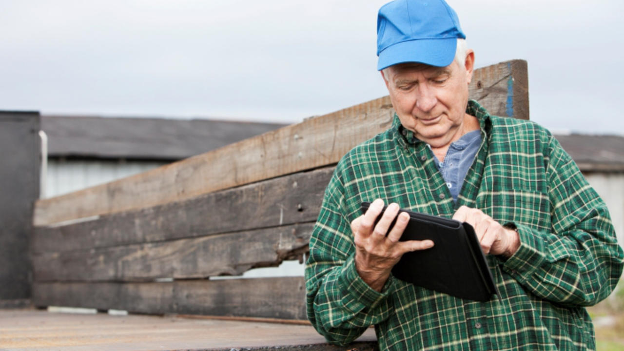 farmer with a tablet