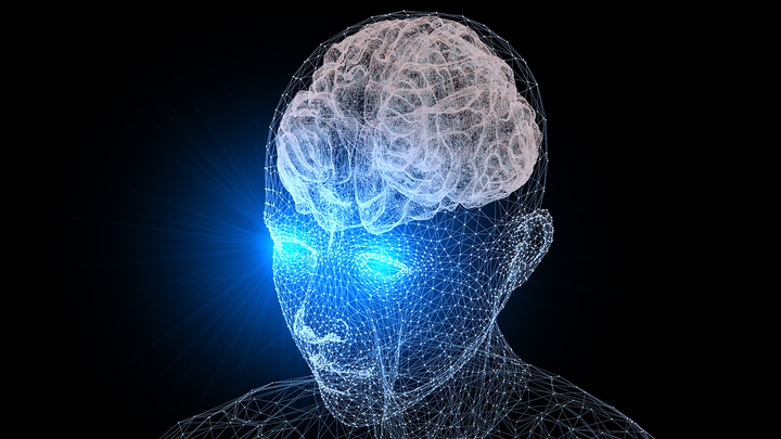 3D illustration of human head with brain highlighted