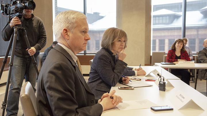 Chris Cramer and Tina Smith at meeting