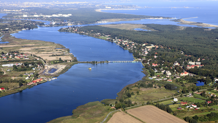 Aerial view of landscape and water