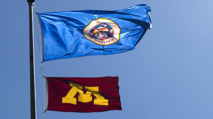Minnesota and University of Minnesota flags