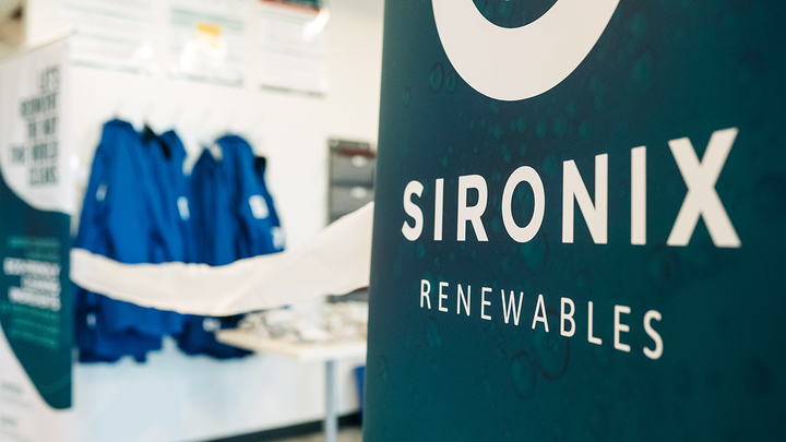 Sironix banner in a laboratory space