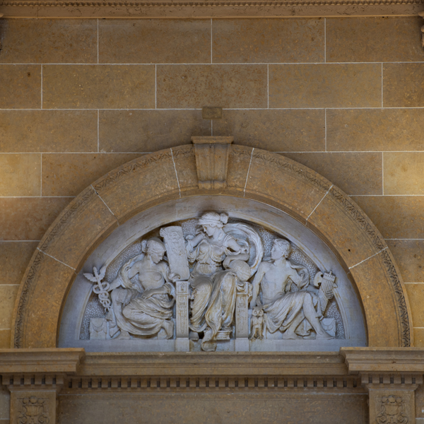 Building Detail: carved figures above door
