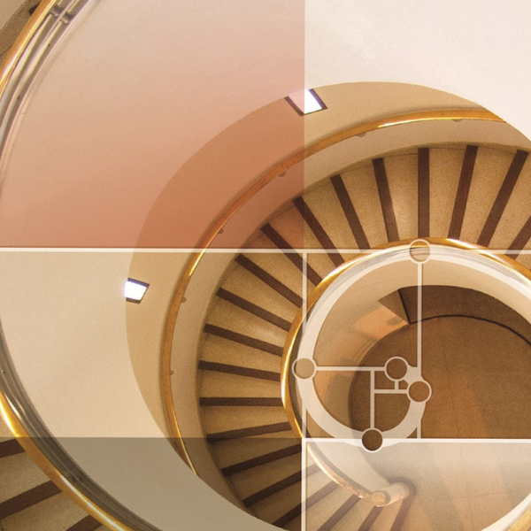 Spiral staircase with golden ratio design