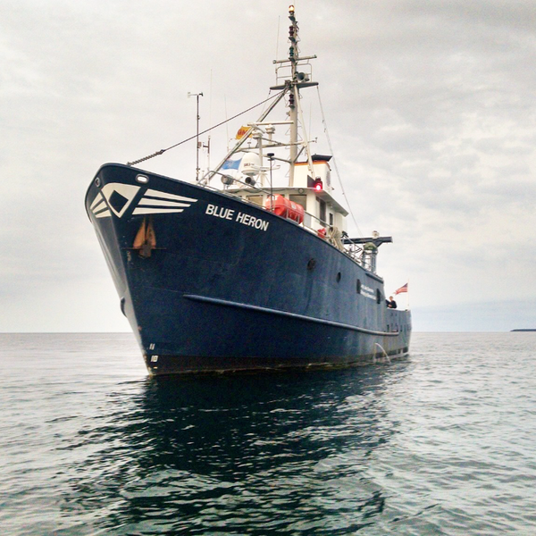 The Blue Heron research vessel on the water