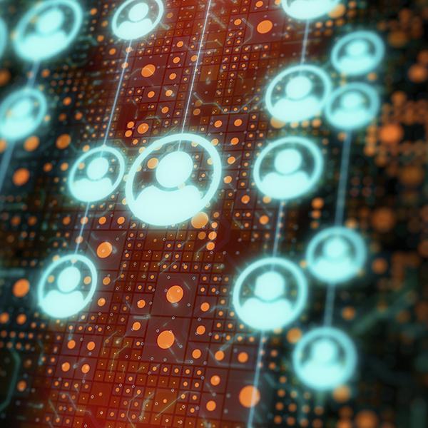 Illustration of data flowing behind human figures