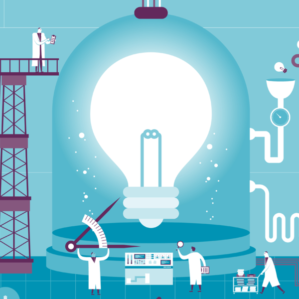 Illustration of a lab with workers creating ideas