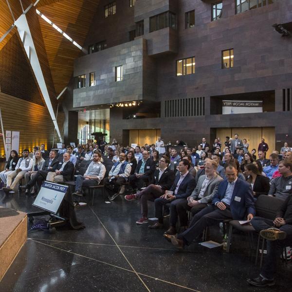 Minneapolis mayor Jacob Frey speaks at gBETA startup event