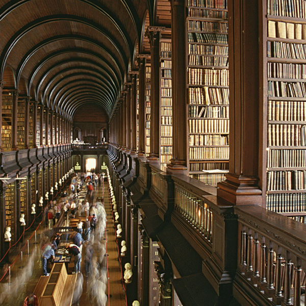 Books on countless shelves at the Library of Trinity College Dublin