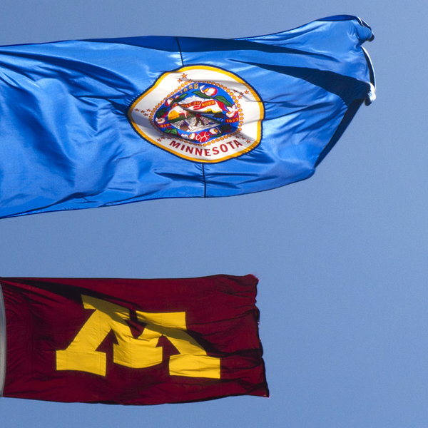 Minnesota and University of Minnesota flags